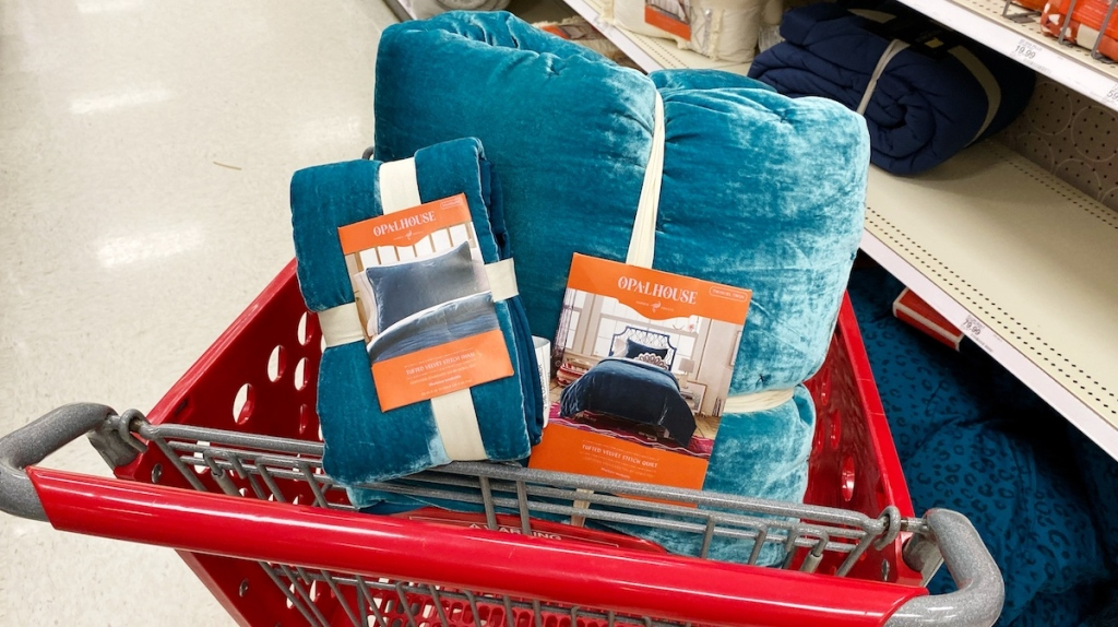 blue quilt and pillowcases in Target cart