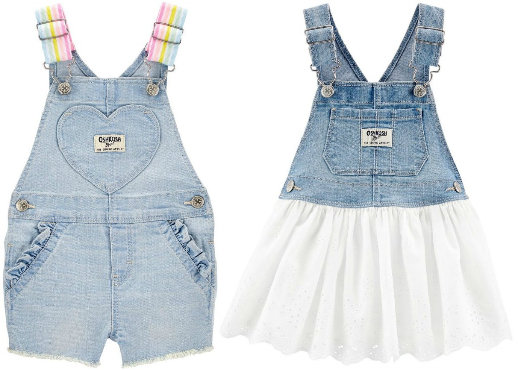 Two styles of baby girls overalls