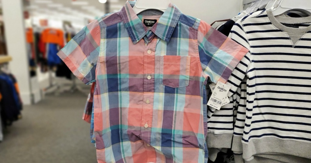 Plaid pastel boys shirt on hanger in-store