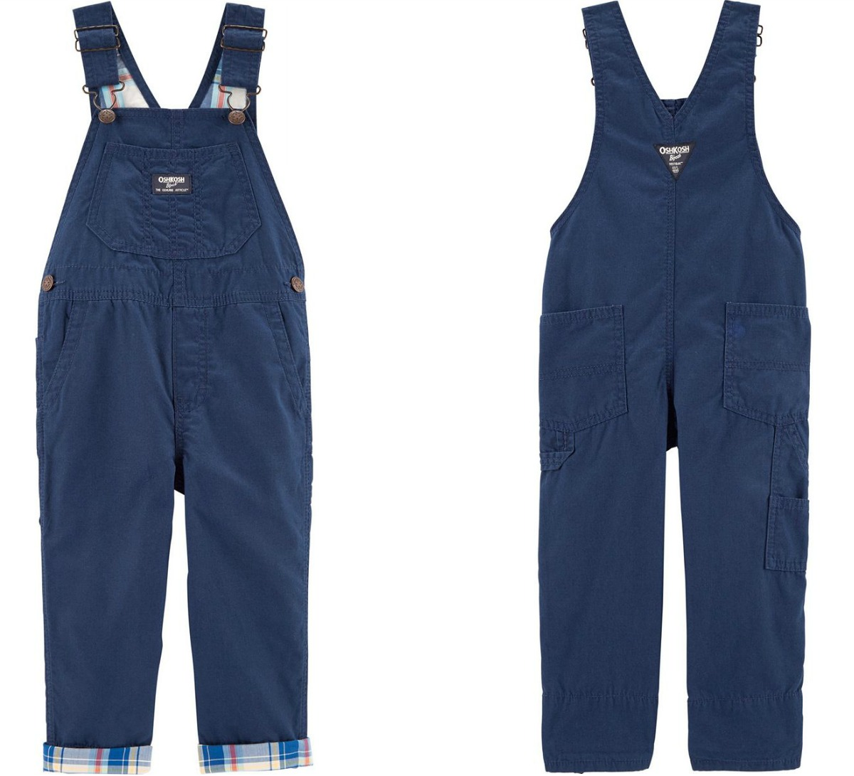 Front and back view of boys denim overalls