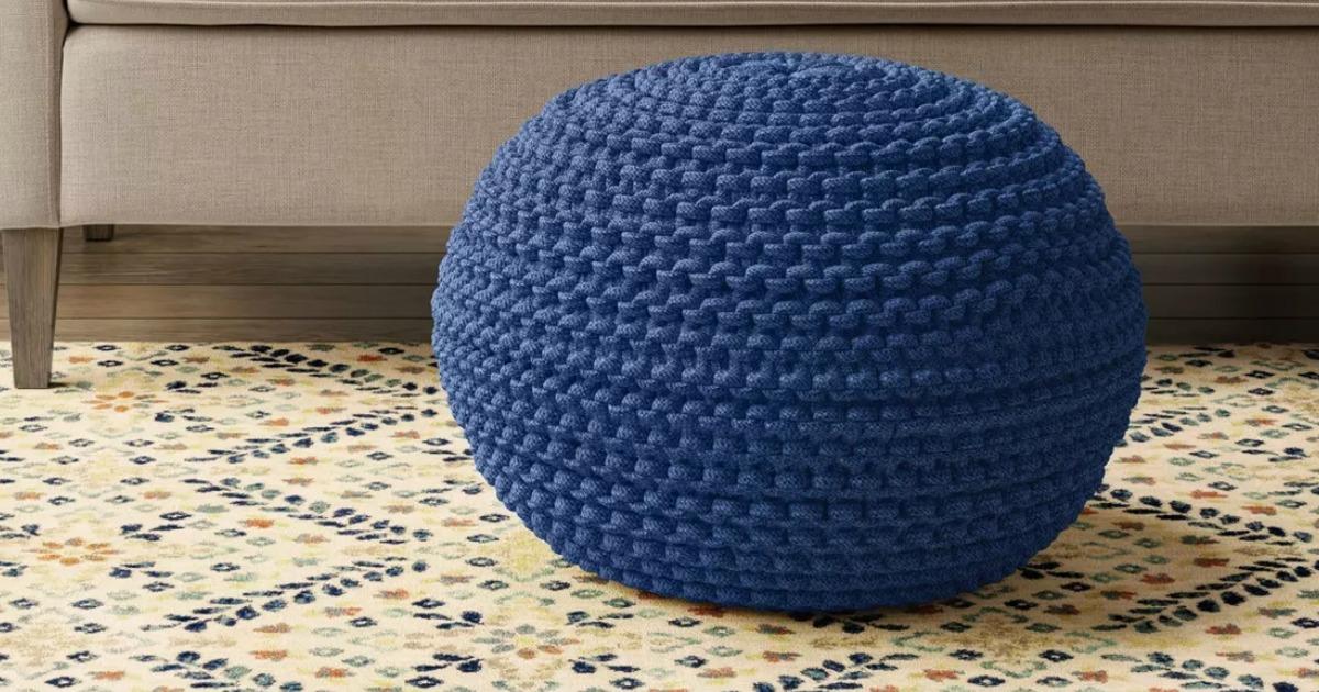 Large blue knit pouf style ottoman