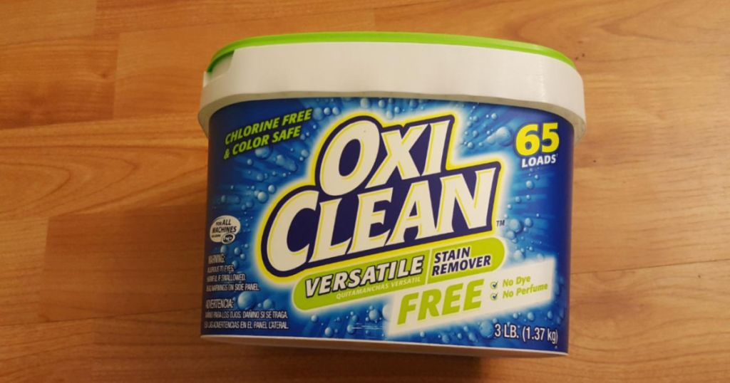 pack of OxiClean Versatile Stain Remover Free on hardwood floor