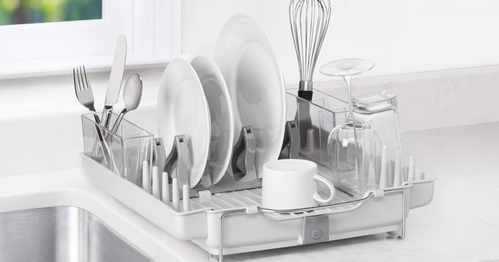 Oxo Good Grips Dish Rack sitting on kitchen counter