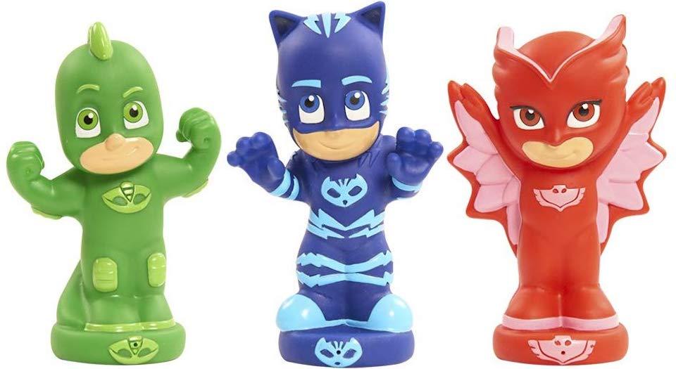 PJ Masks Bath toys in a row