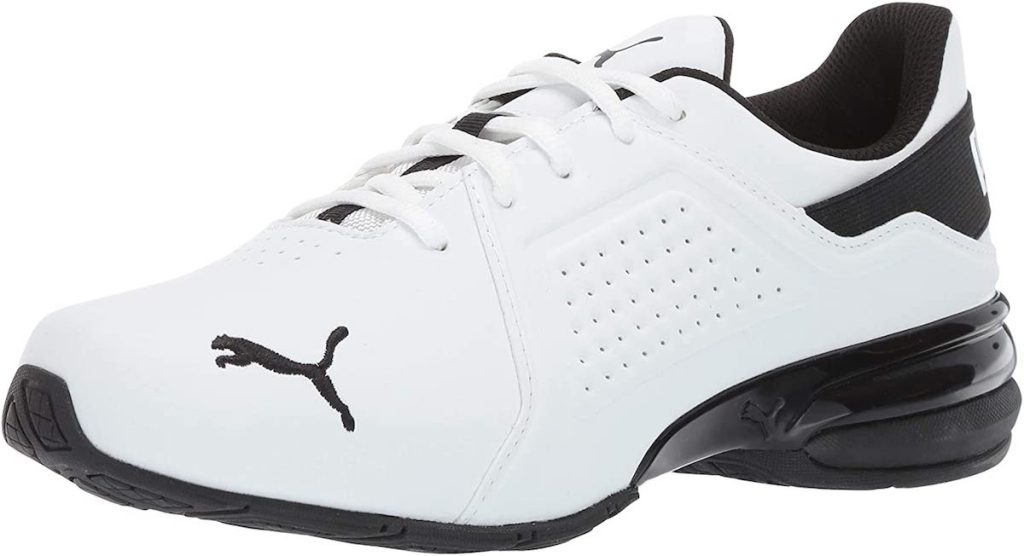white and black PUMA sneakers