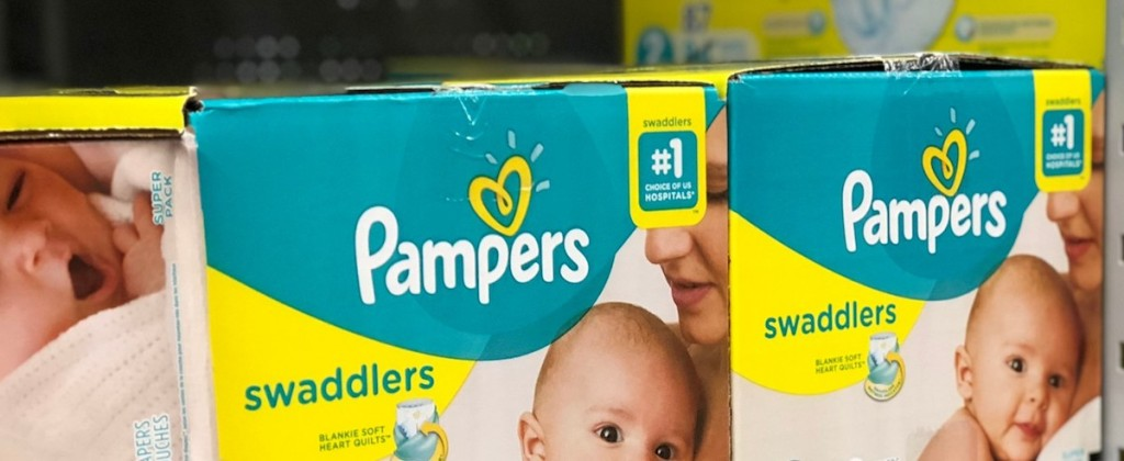 boxes of diapers on a shelf