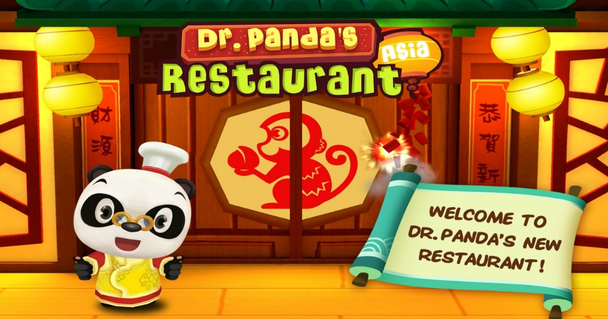 Dr Panda Asia Restaurant image with cartoon image of Panda outside of his restaurant