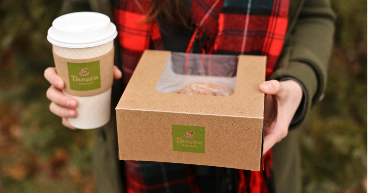 Woman holding Panera Bread Coffee and Takeout