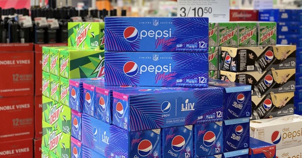 soda can packs store display