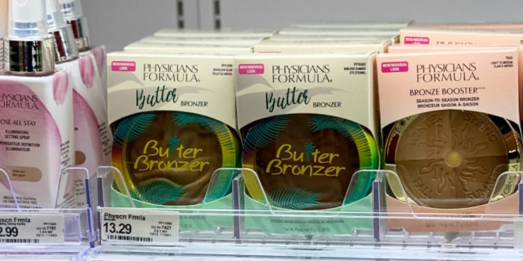 In store display of Physician's Formula bronzer cosmetics