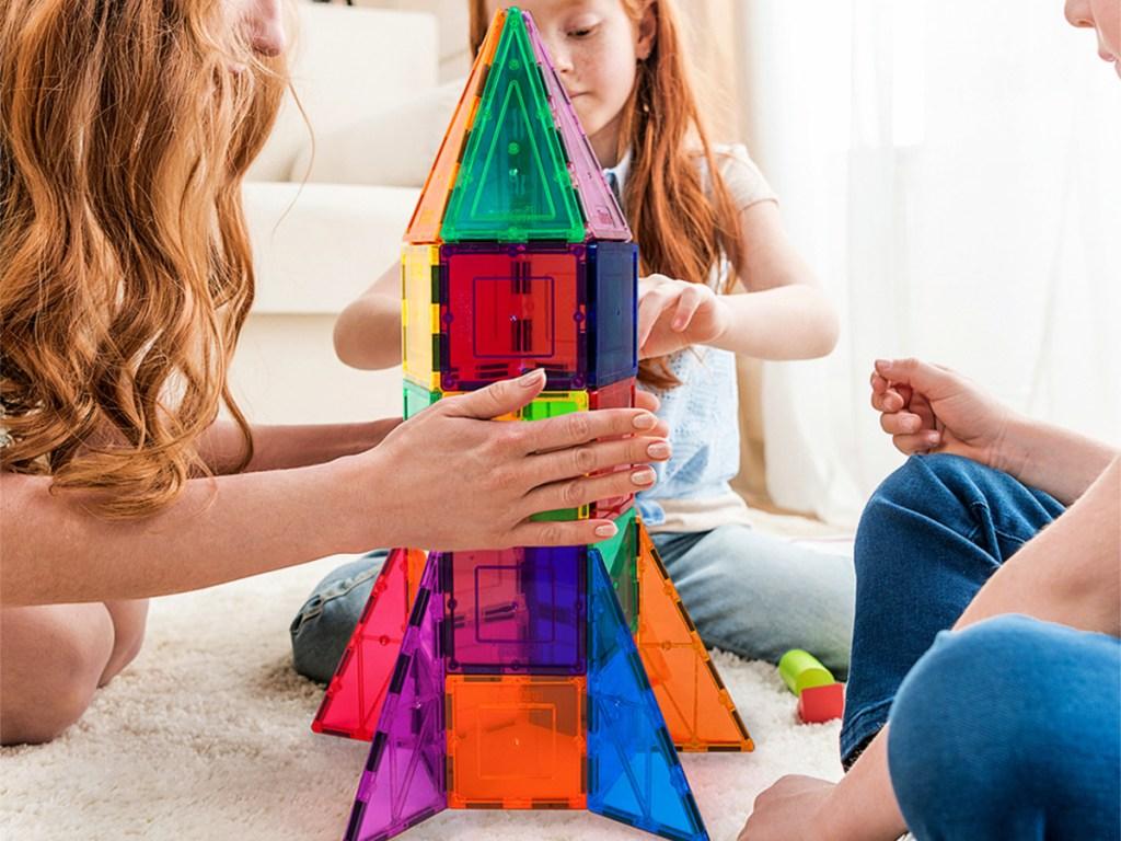 Picasso Tiles Rainbow 32-Piece 3D Magnetic Building Block Rocket Set