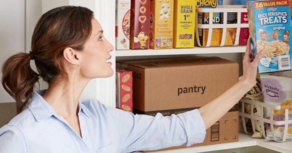 Woman unpacking Prime Pantry box
