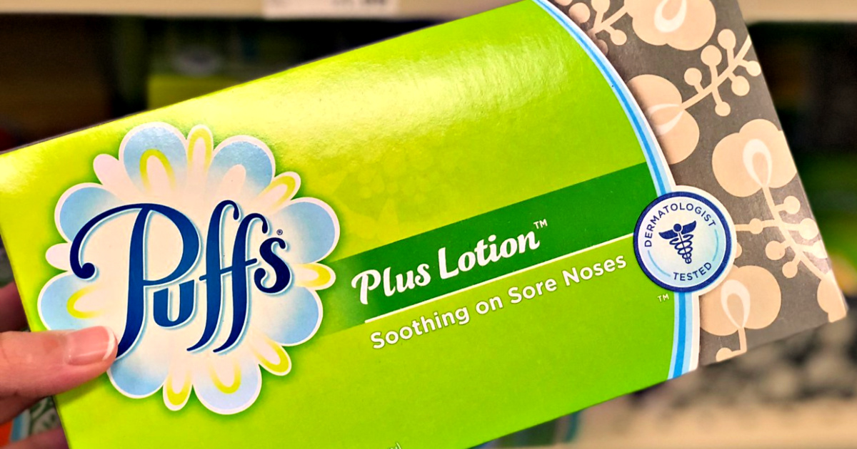 Puffs Plus Lotion Tissues in hand