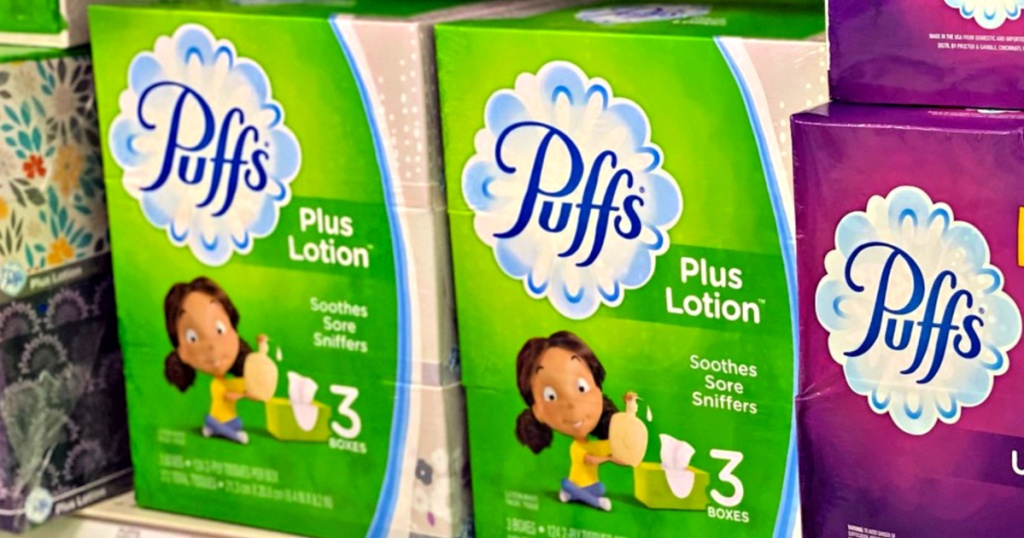 Puffs Plus Lotion Tissues on shelf at store