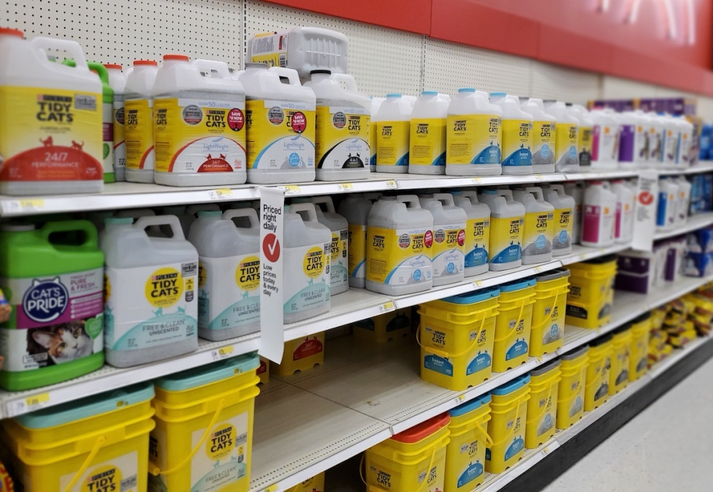 rows of tidy cats litter at Target
