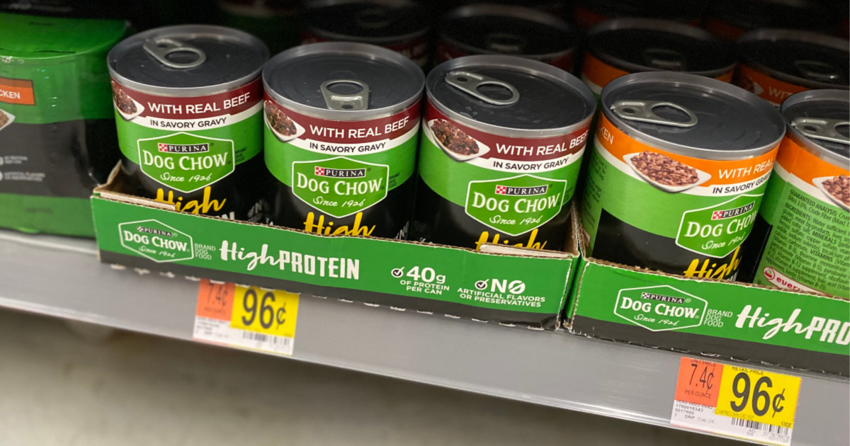Purina Dog Chow High Protein on the shelf at walmart