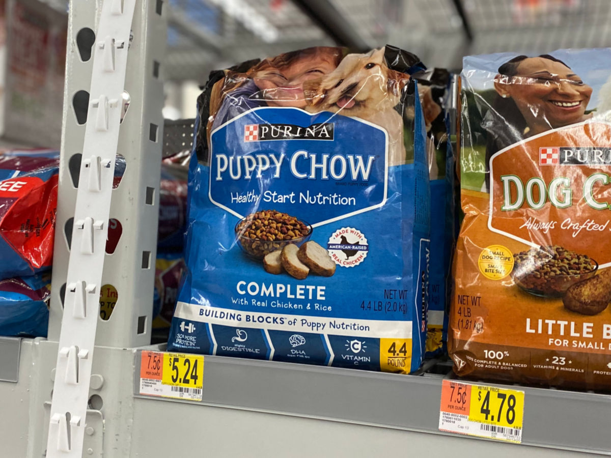 walmart shelf with Purina Puppy Chow Dry Dog Food
