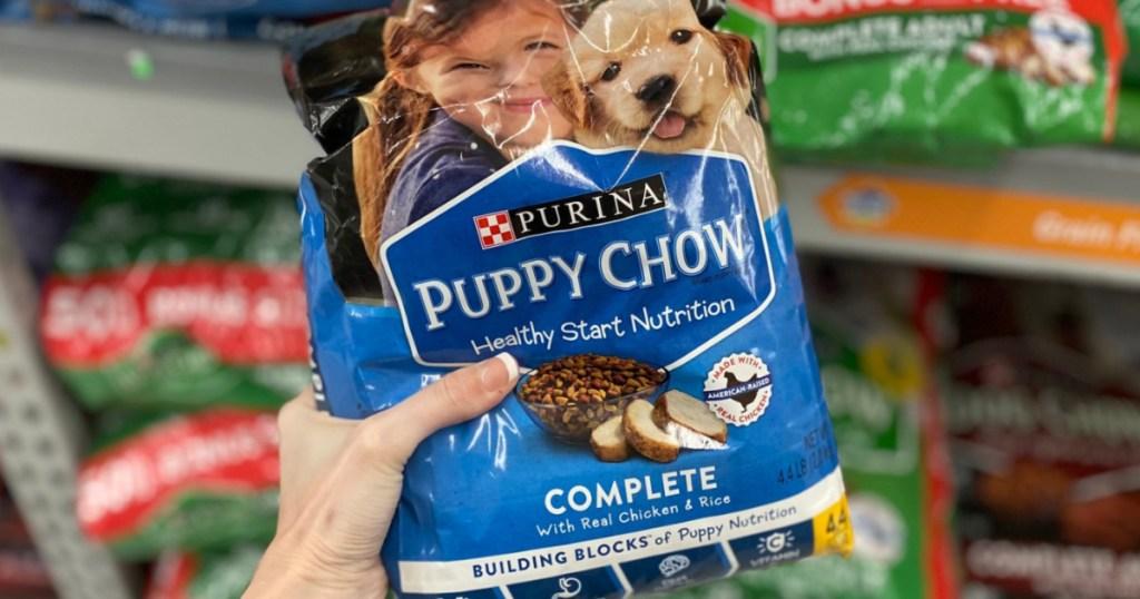 Purina Puppy Chow on store shelf