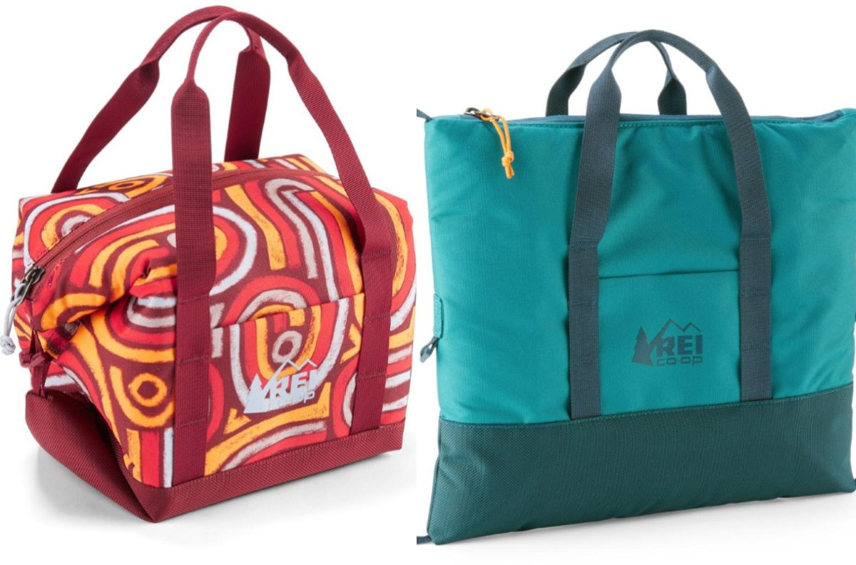red patterned and blue cooler bags