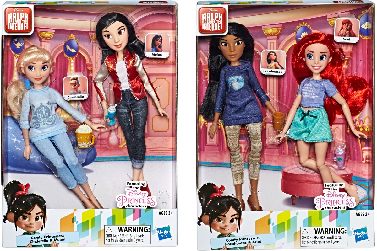 Two packages of Disney Princess comfy dolls in 2 packs