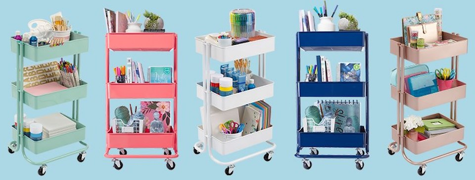 tiered carts with items on them