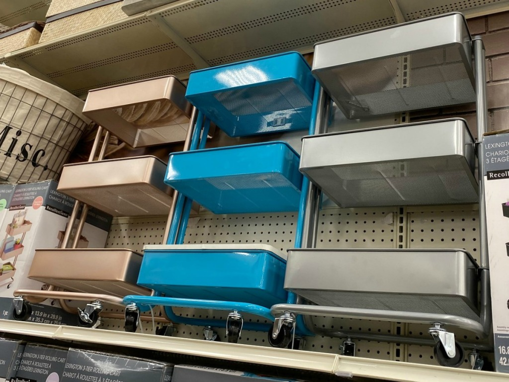 Large metal crafting carts on display in store