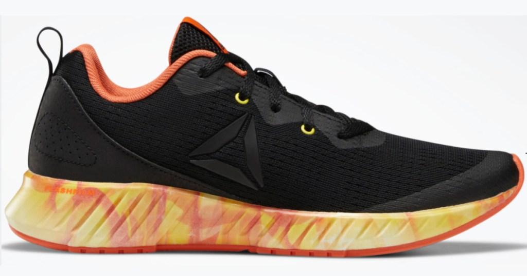 black, orange, and yellow flame Reebok Boys Flashfilm Runner Shoes