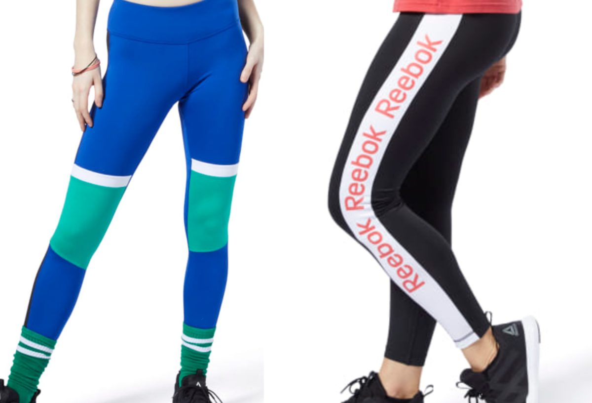 woman in blue and green leggings and woman in black and white leggings