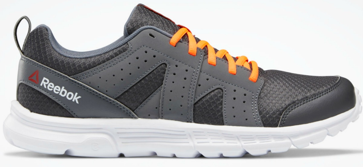 Gray Reebok shoes with orange laces