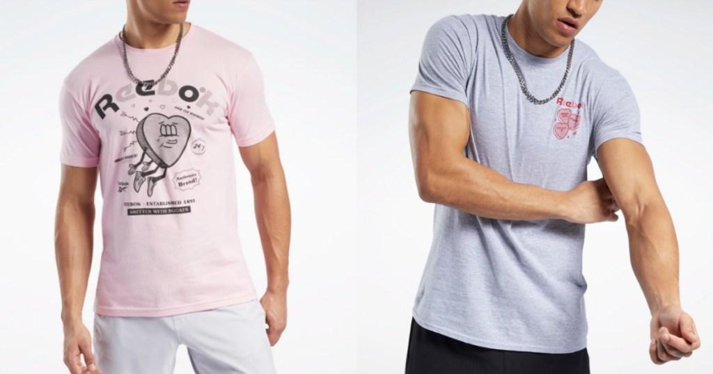 models wearing Reebok Men's Tees