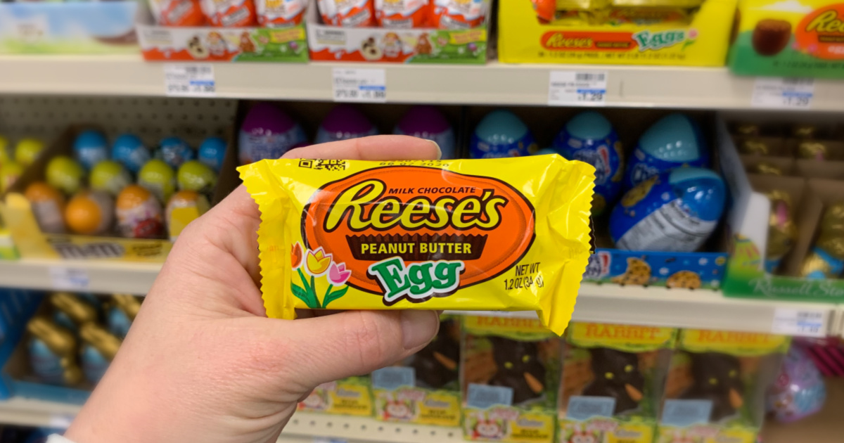 Hand holding Reese's candy