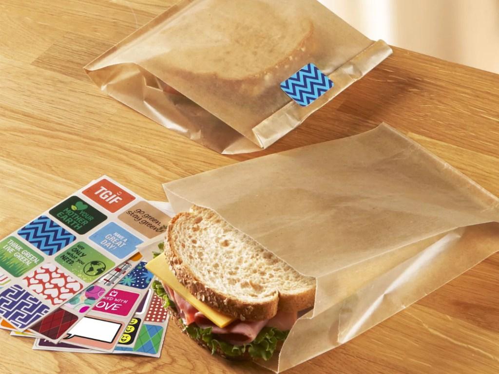 sandwich in wax paper sandwich bags