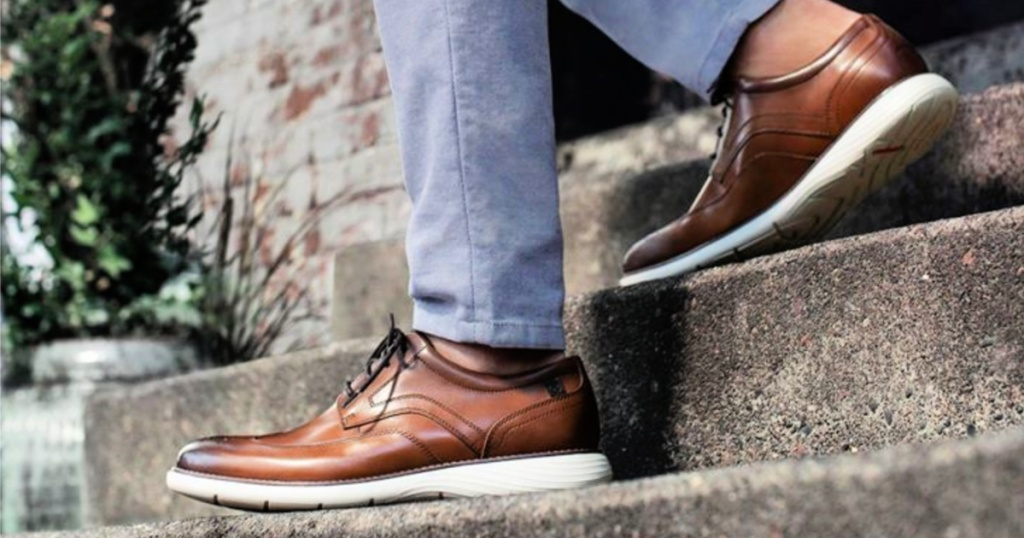 Rockport Men's Garett Wingtip on man on stairs