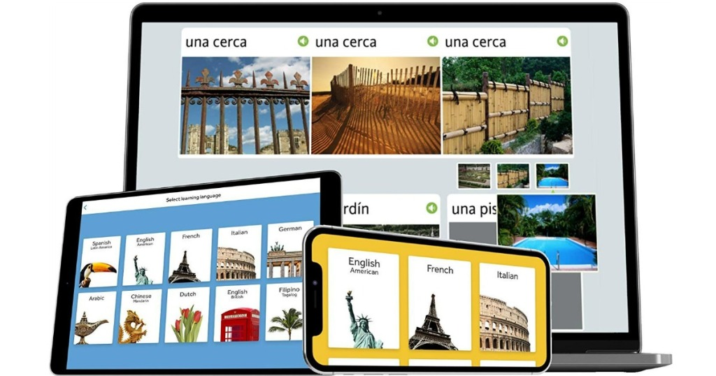 Rosetta Stone on laptop, tablet and phone