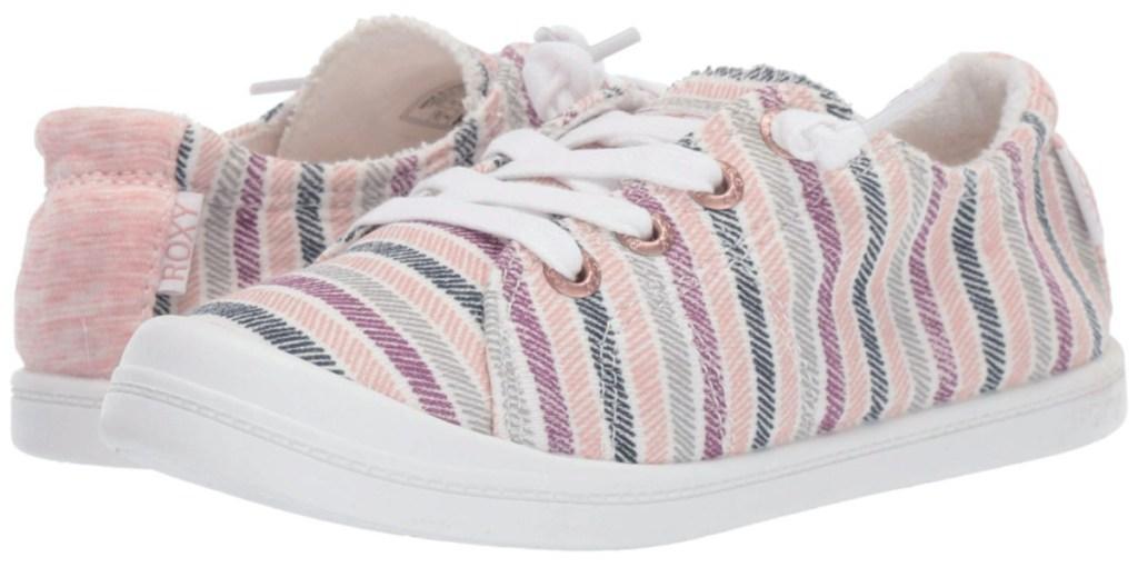 kids pink stripe canvas shoe