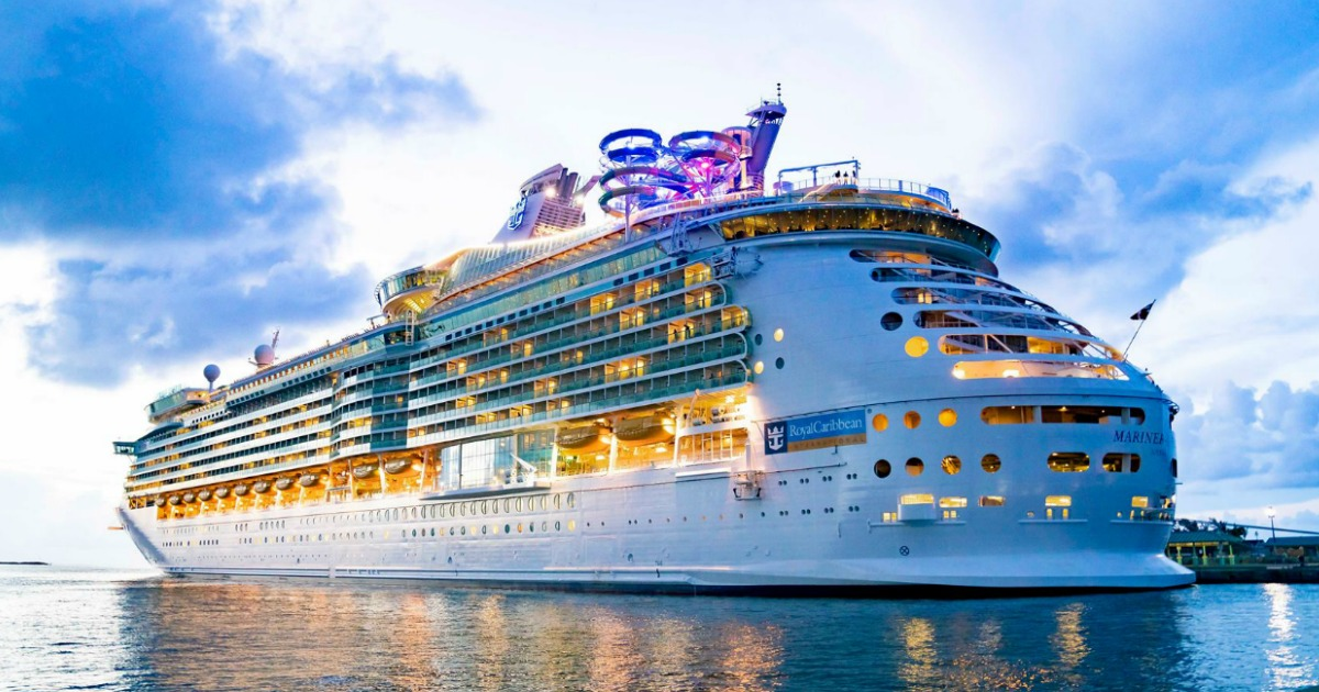 Large cruise ship on the water at sunset