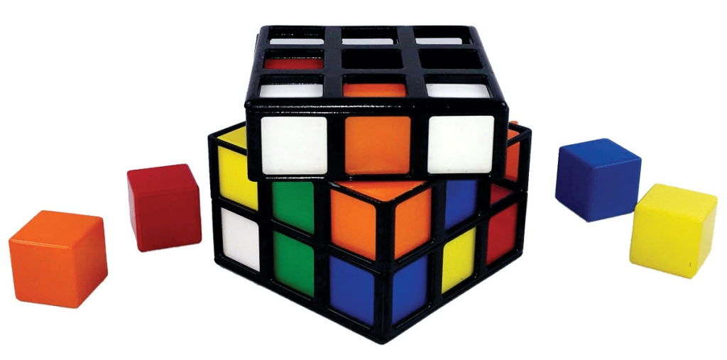 rubiks cube game with square colored pieces