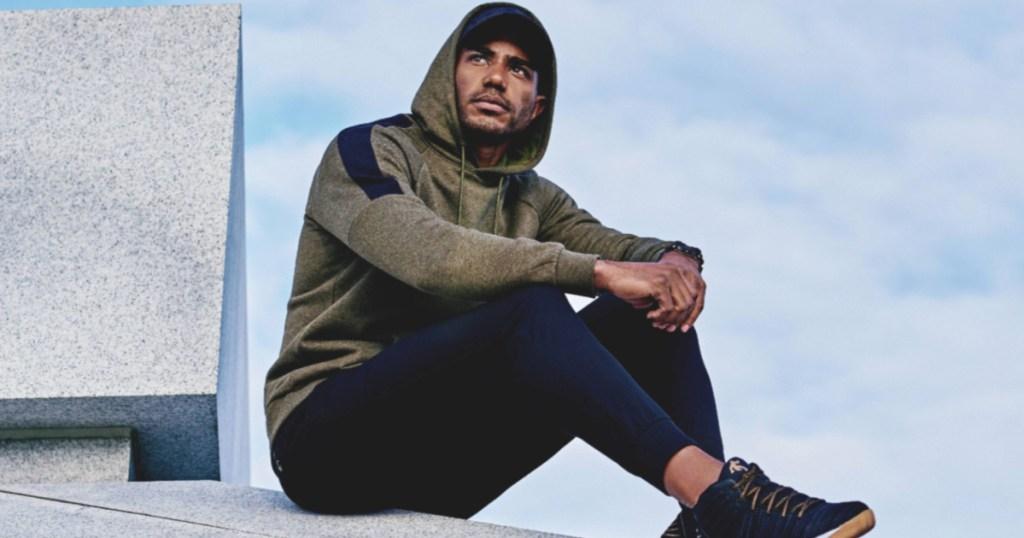 Man wearing Russell fleece hoodie