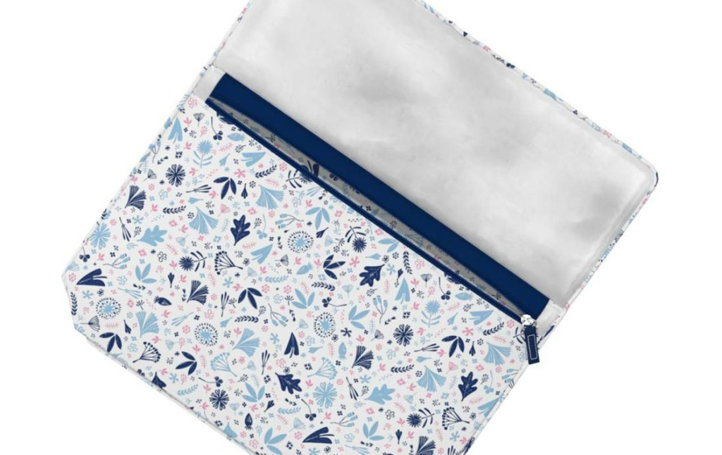 cosmetic bag with whimsical blue floral print