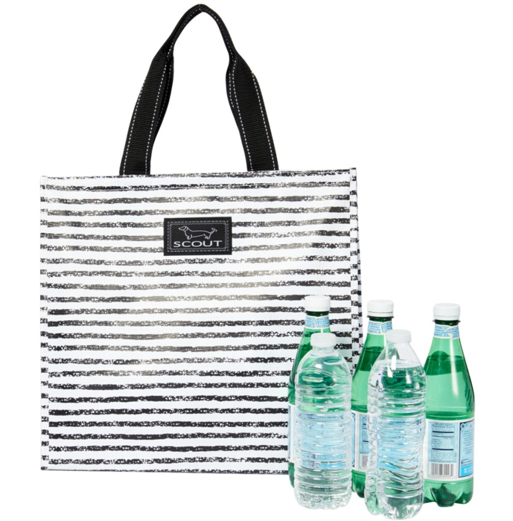 black and white striped cooler tote with bottles water in front