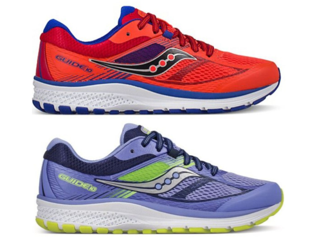 kids red running shoes and kids purple running shoe