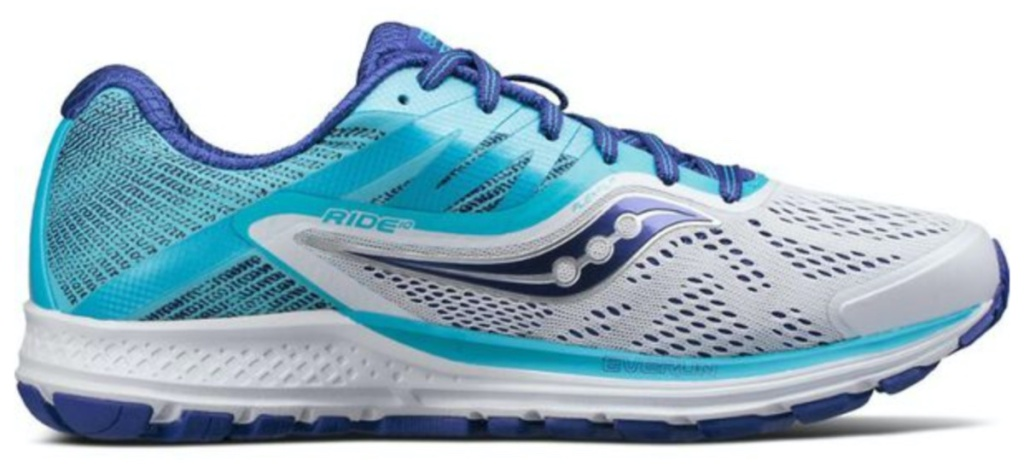 women's blue, purple, and white running shoe