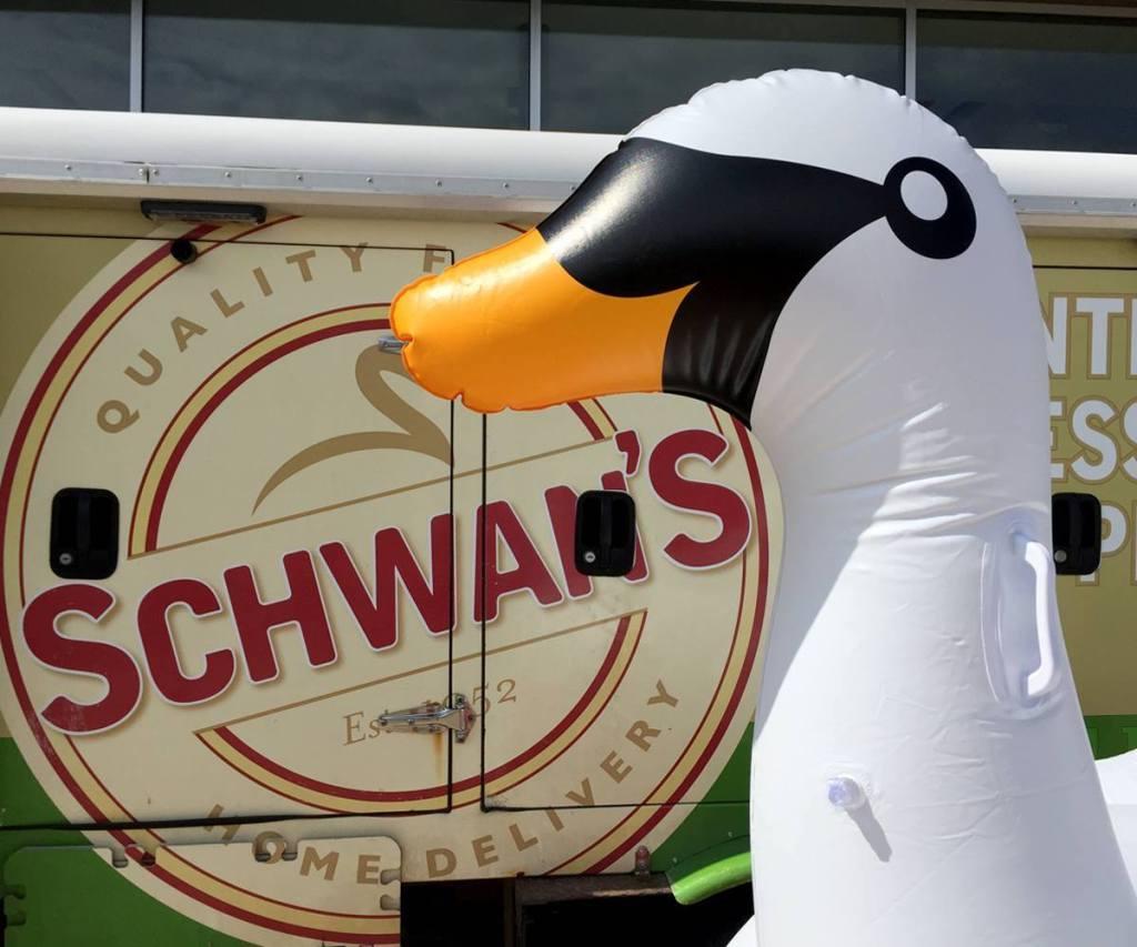 swan in front of Schwan's truck