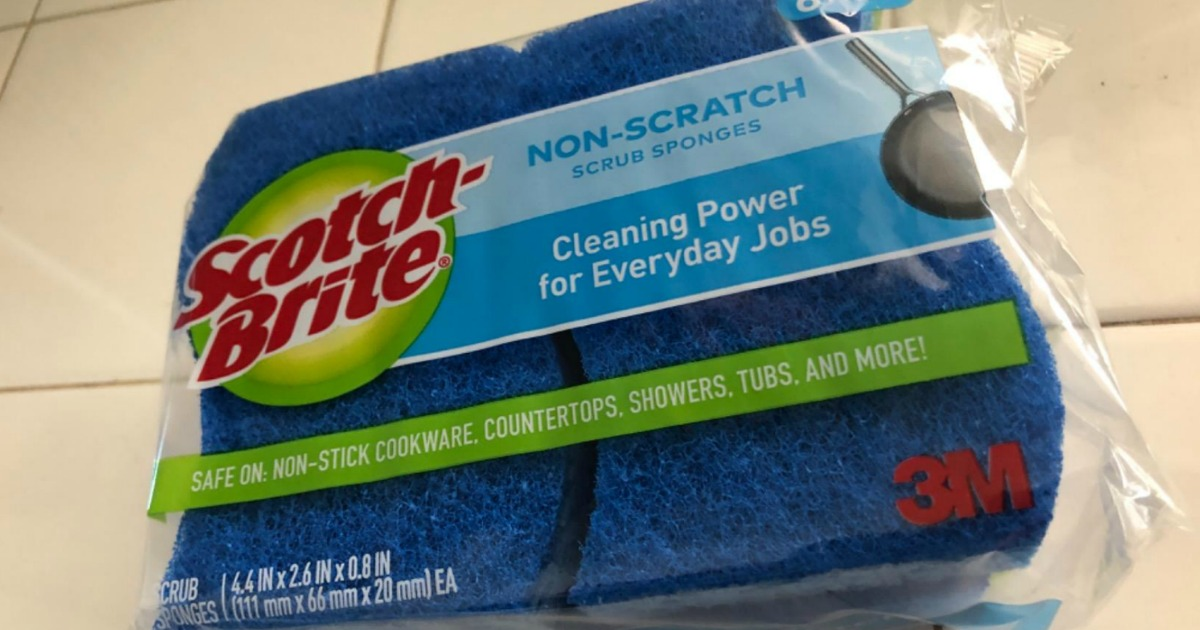 Scotch-Brite scrub sponges package on counter
