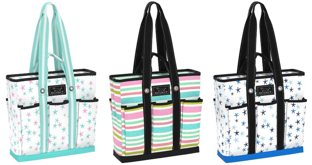 colorful tote backs with multiple pockets