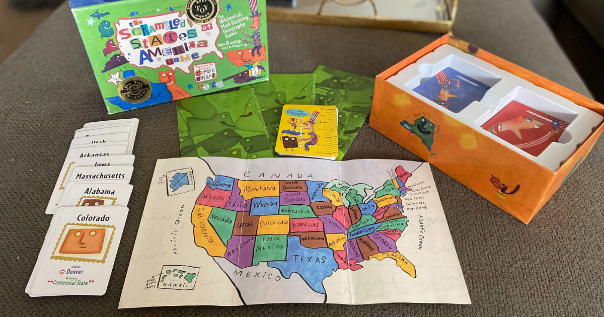 Scrambled States of America game set up on a table