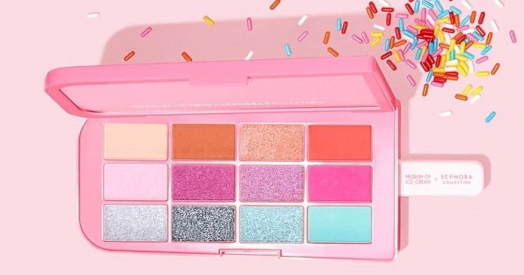 colorful eyeshadow palette shaped like popsicle on a stick
