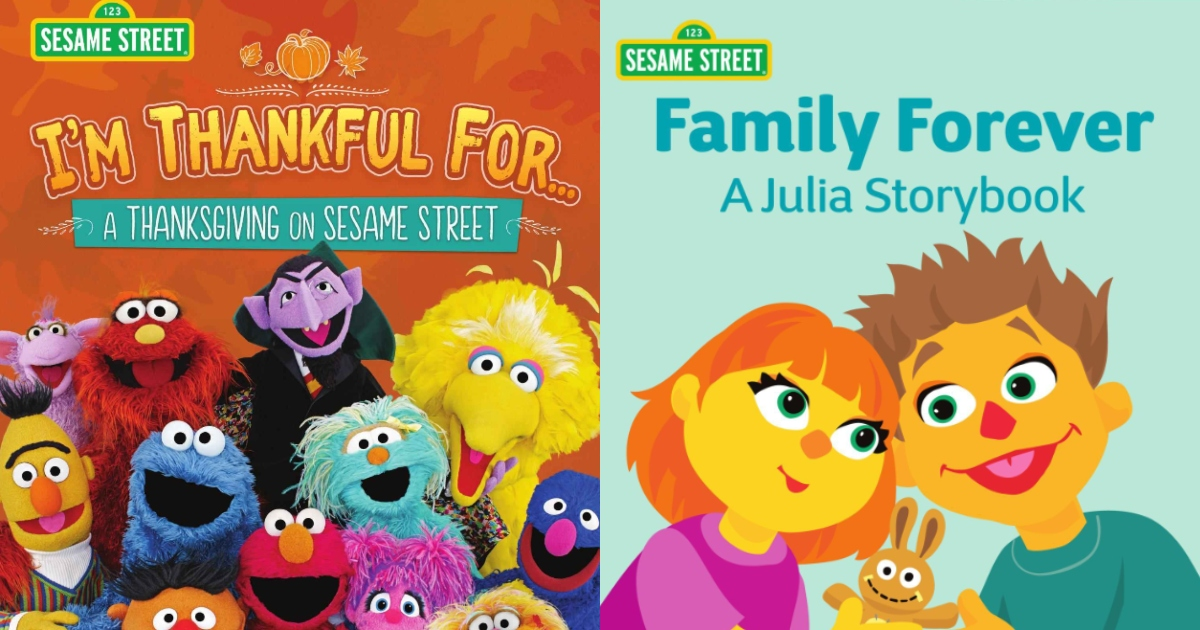 Two Sesame Street Ebooks One is I'm Thankful For and Family Forever