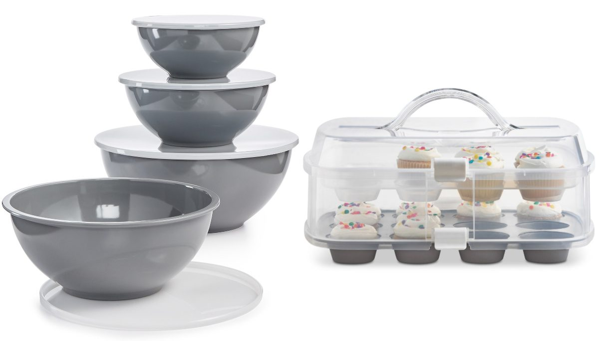 Set of Bowls and Cupcake Carrier