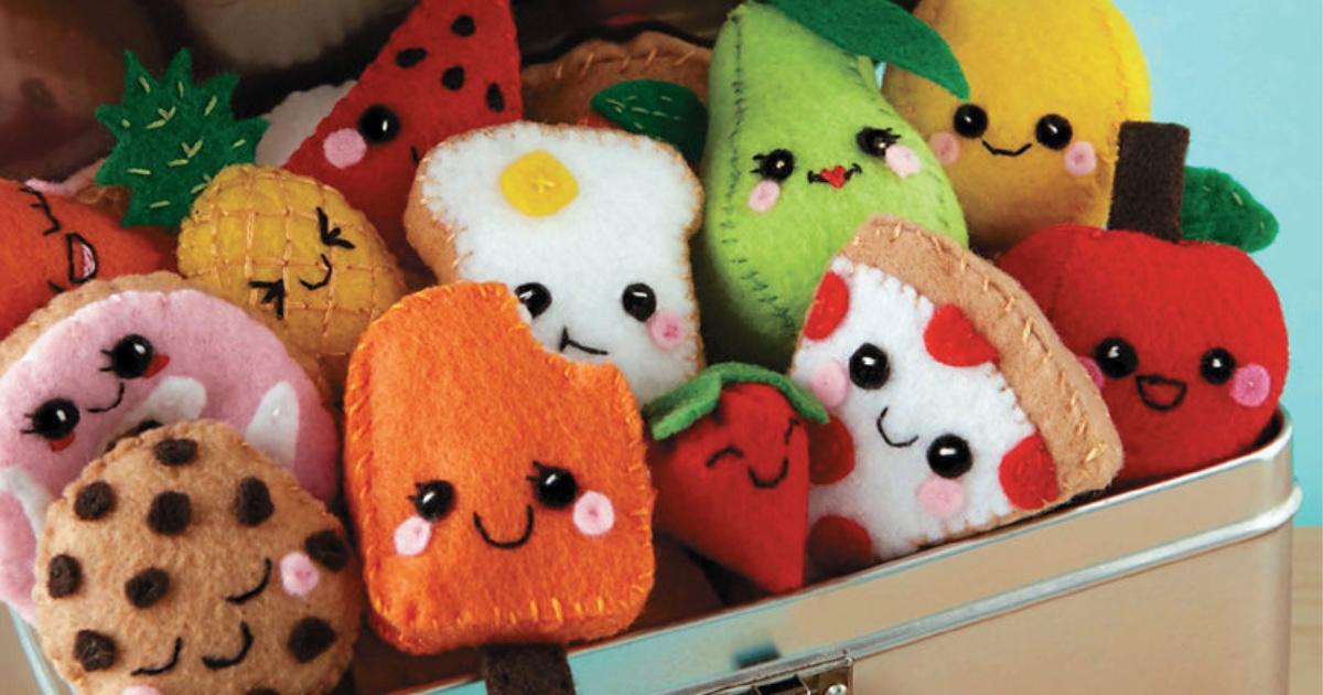 mini handmade food plushies in trunk